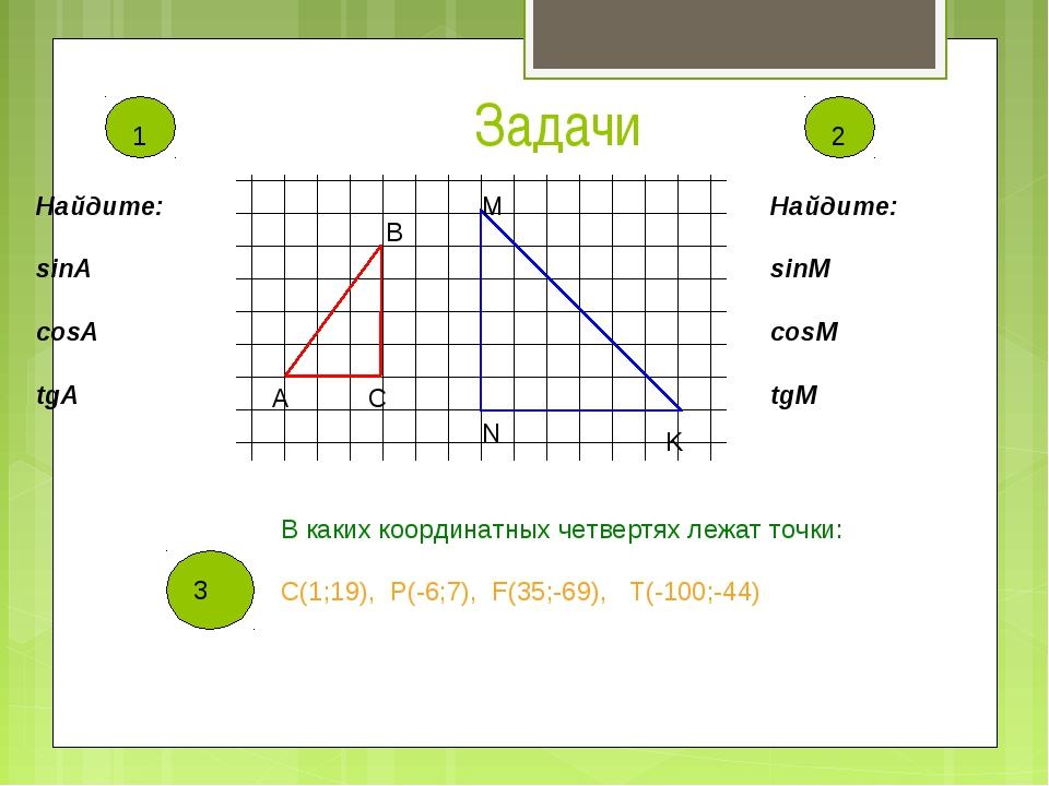 Задачи Найдите: sinA cosA tgA Найдите: sinМ cosМ tgМ 3 3 В каких координатных...