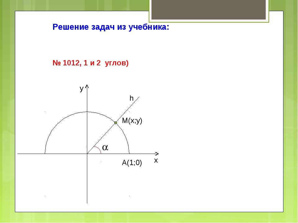 Решение задач из учебника: № 1012, 1 и 2 углов) A(1;0)