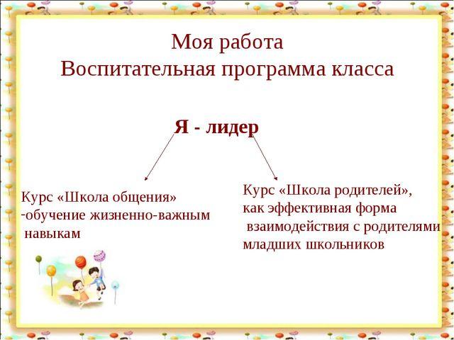 Моя работа Воспитательная программа класса Я - лидер Курс «Школа общения» обу...