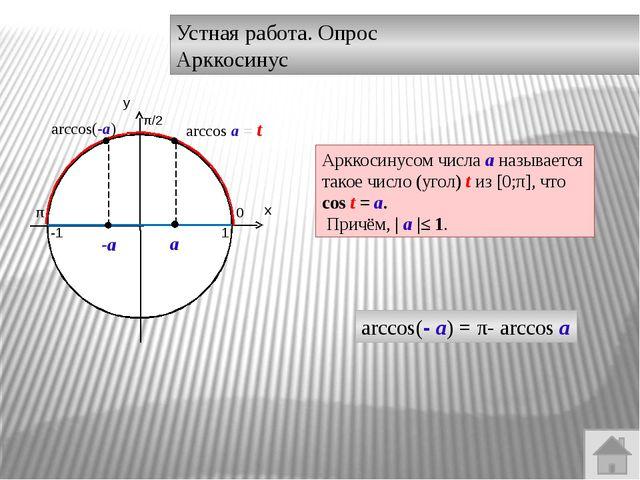 Устная работа. Опрос. Арксинус а - а arcsin(- а)= - arcsin а Арксинусом числа...