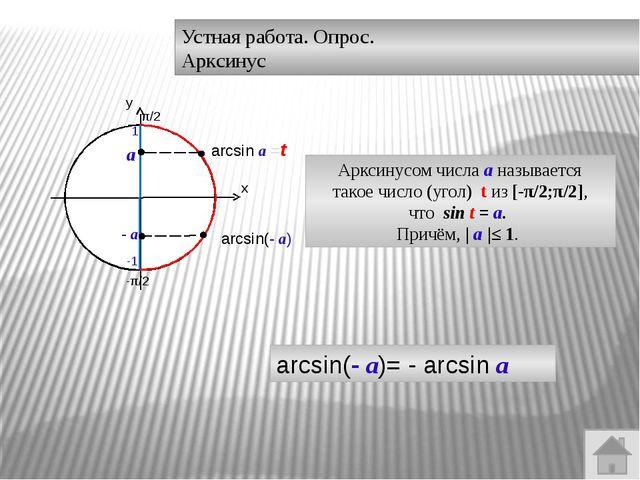 Устная работа. Опрос. Арктангенс 0 arctgа = t Арктангенсом числа а называется...