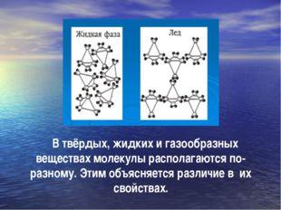 В твёрдых, жидких и газообразных веществах молекулы располагаются по-разному