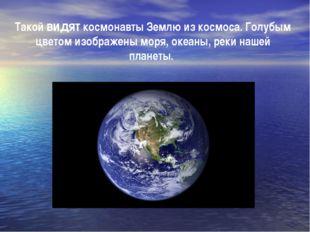 Такой видят космонавты Землю из космоса. Голубым цветом изображены моря, океа