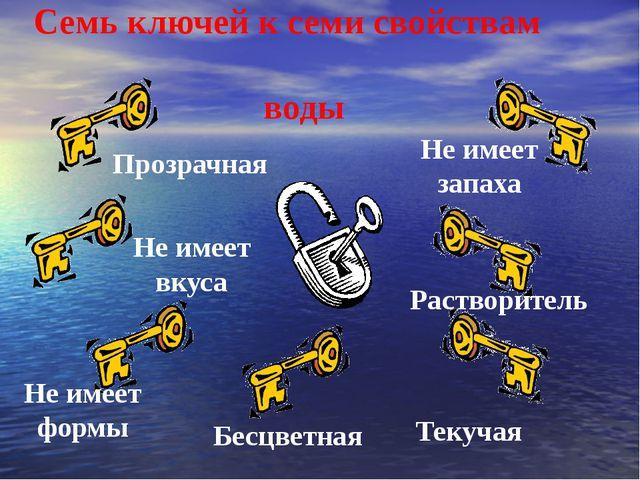 Семь ключей к семи свойствам воды Прозрачная Не имеет формы Растворитель Не и...