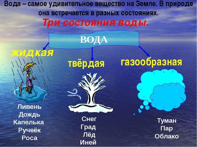 Три состояния воды. ВОДА жидкая твёрдая газообразная Ливень Дождь Капелька Ру...