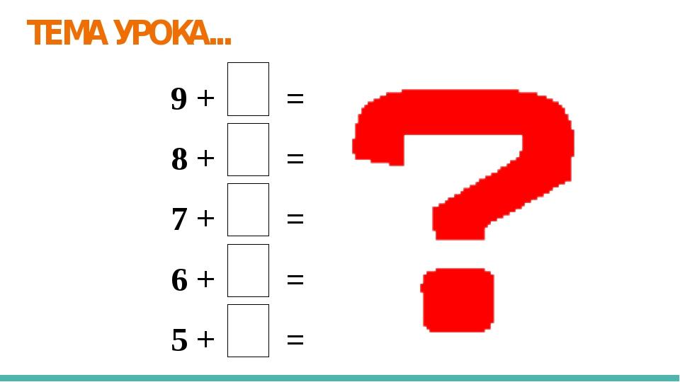 ТЕМА УРОКА... 9 + = 8 + = 7 + = 6 + = 5 + =