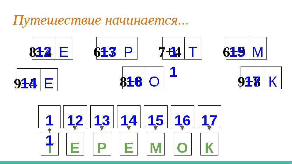 Путешествие начинается... 8+4 Е 6+7 Р 7+4 Т 9+5 Е 8+8 О 9+8 К 6+9 М Е Р Е М О...