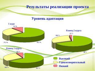 1 курс Конец 1 курса Конец 2 курса Результаты реализации проекта Уровень адап
