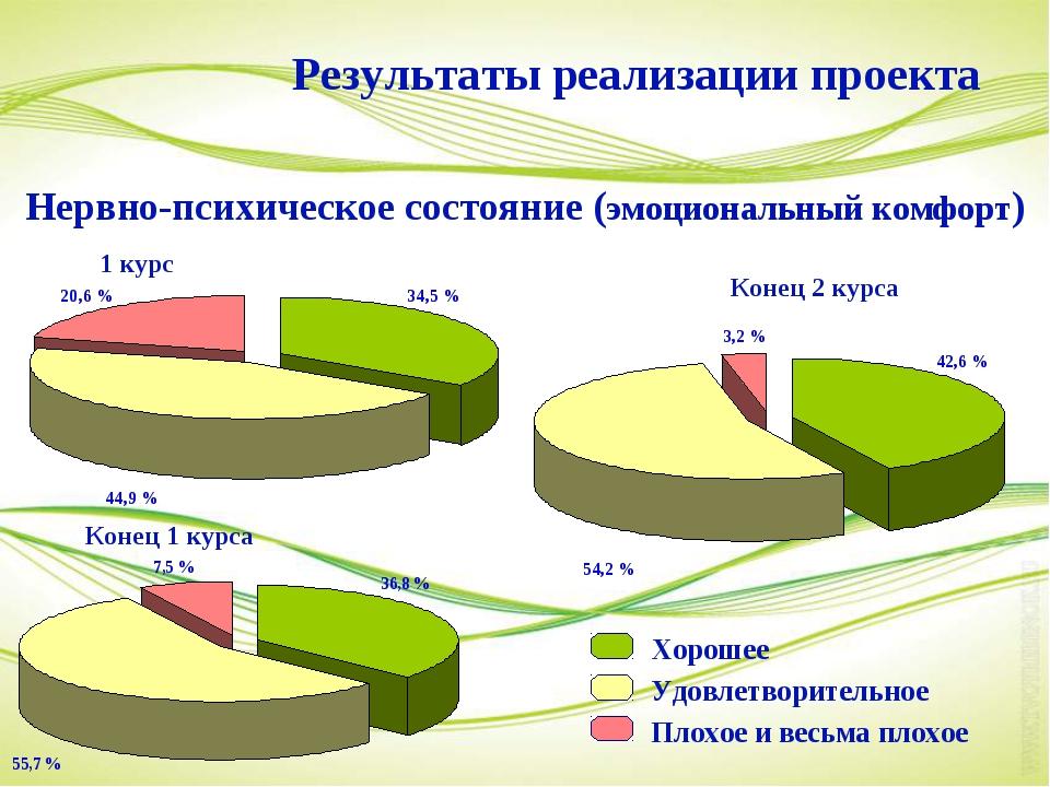 1 курс Конец 1 курса Конец 2 курса Результаты реализации проекта Хорошее Удов...
