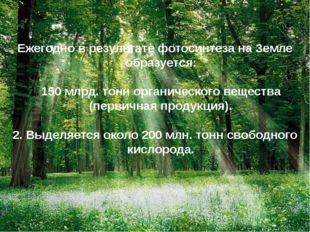 Ежегодно в результате фотосинтеза на Земле образуется: 150 млрд. тонн органич