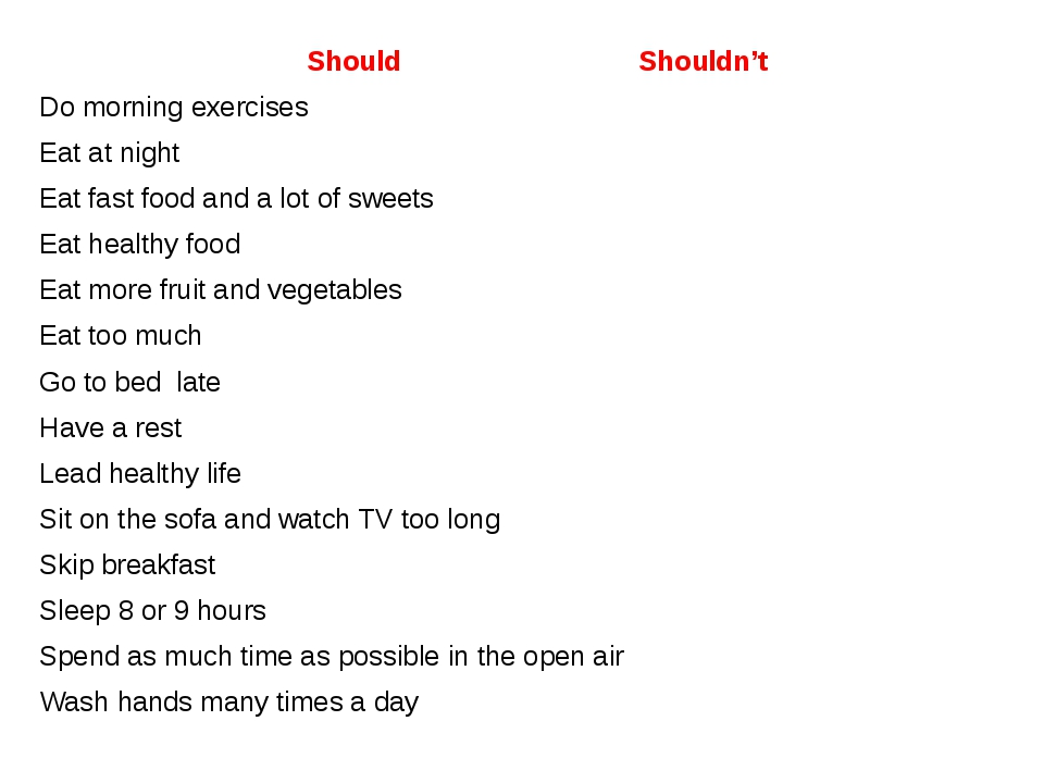 Should Shouldn't Do morning exercises Eat at night Eat fast food and a lot of...
