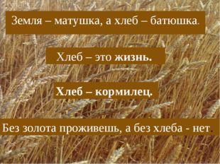 Земля – матушка, а хлеб – батюшка. Хлеб – это жизнь. Хлеб – кормилец. Без зол