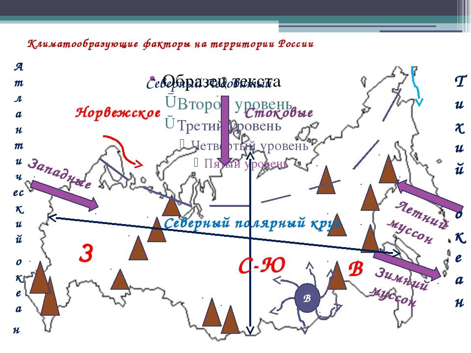 Климатообразующие факторы на территории России Атлантический океан Тихий океа...