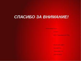 СПАСИБО ЗА ВНИМАНИЕ! Филилеева Ольга 9 класс МОУ Панциревская СОШ Инзенский р