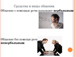 Средства и виды общения. Общение с помощью речи называют вербальным Общение б