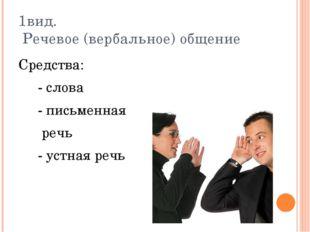 1вид. Речевое (вербальное) общение Средства: - слова - письменная речь - устн