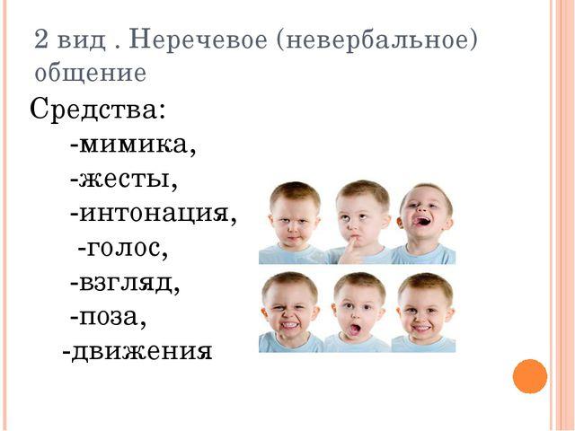 2 вид . Неречевое (невербальное) общение Средства: -мимика, -жесты, -интонаци...