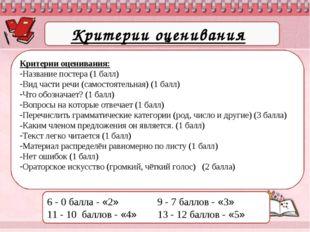Критерии оценивания: Критерии оценивания: Название постера (1 балл) Вид части