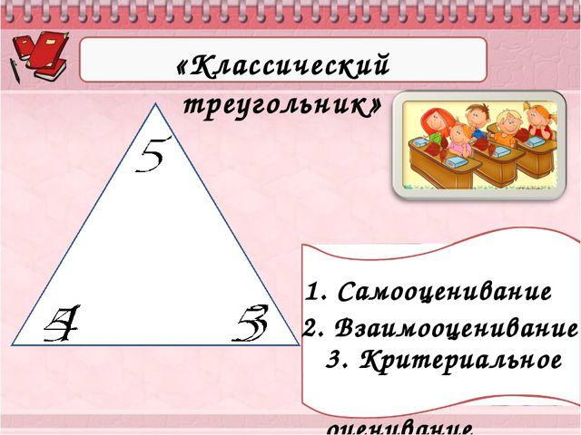 «Классический треугольник» 3. Критериальное оценивание 1. Самооценивание 2. В...