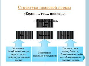 Структура правовой нормы «Если …, то…, иначе…».
