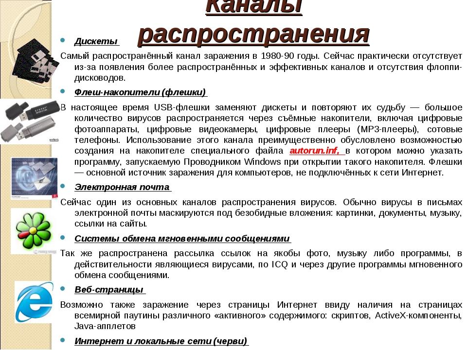Каналы распространения Дискеты Самый распространённый канал заражения в 1980-...