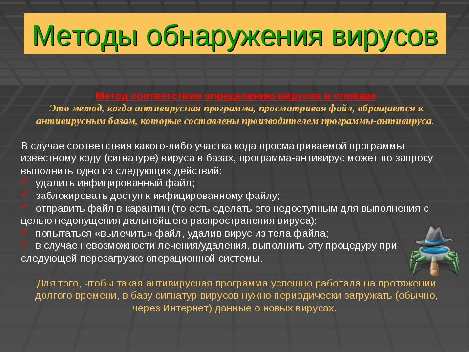 Методы обнаружения вирусов Метод соответствия определению вирусов в словаре Э...