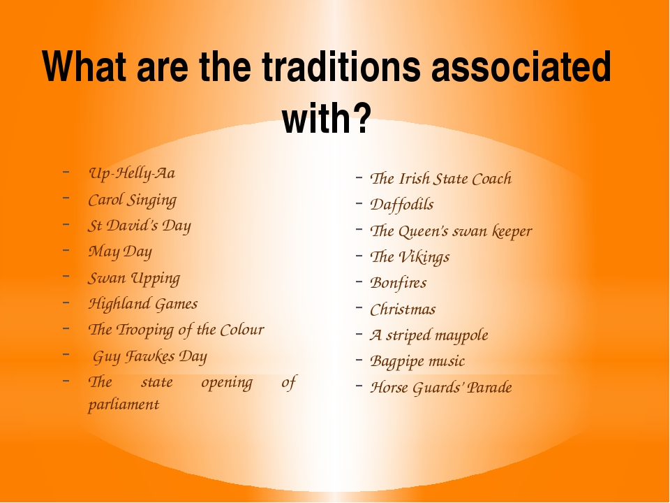 What are the traditions associated with? Up-Helly-Aa Carol Singing St David's...