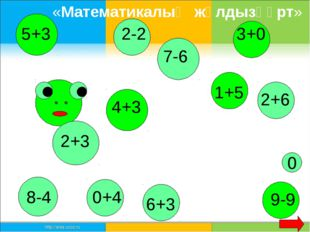 2+3 5+3 8-4 4+3 7-6 1+5 6+3 9-9 0 2-2 2+6 3+0 0+4 «Математикалық жұлдызқұрт»