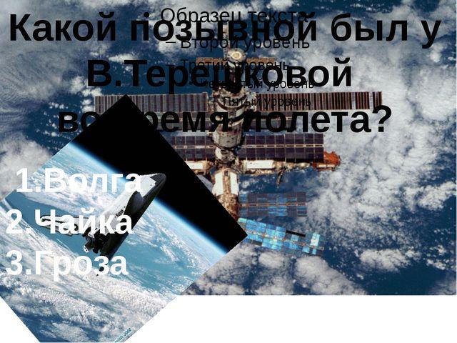 Какой позывной был у В.Терешковой во время полета? 1.Волга 2.Чайка 3.Гроза