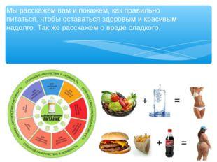 Мы расскажем вам и покажем, как правильно питаться, чтобы оставаться здоровым