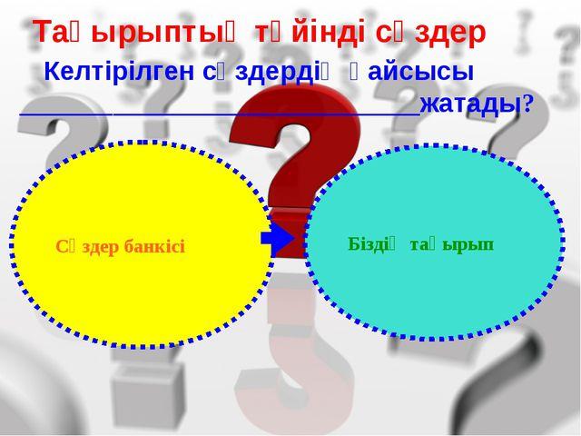 Тақырыптық түйінді сөздер Келтірілген сөздердің қайсысы _____________________...
