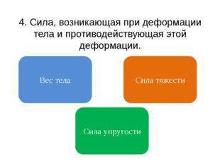 4. Cила, возникающая при деформации тела и противодействующая этой деформации