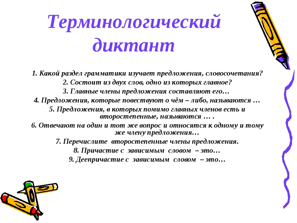 Терминологический диктант 1. Какой раздел грамматики изучает предложения, сло...