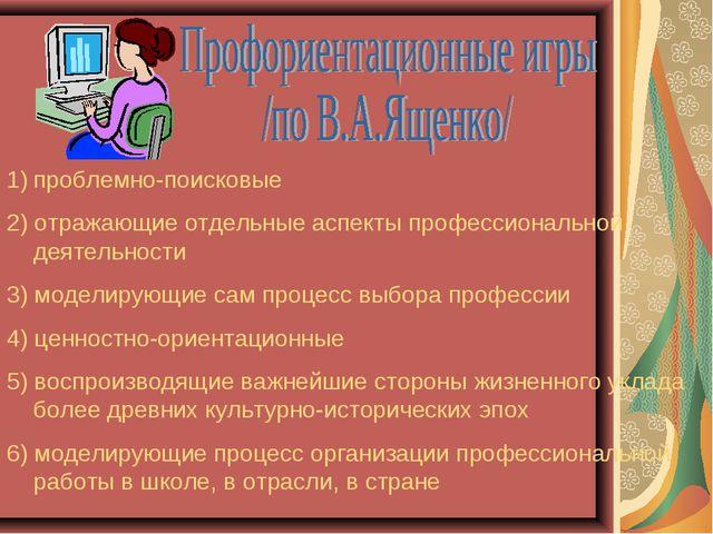 проблемно-поисковые 2) отражающие отдельные аспекты профессиональной деятельн...