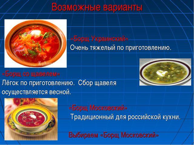 Возможные варианты «Борщ Украинский» Очень тяжелый по приготовлению. «Борщ со...