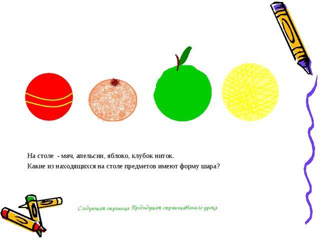 На столе - мяч, апельсин, яблоко, клубок ниток. Какие из находящихся на столе...