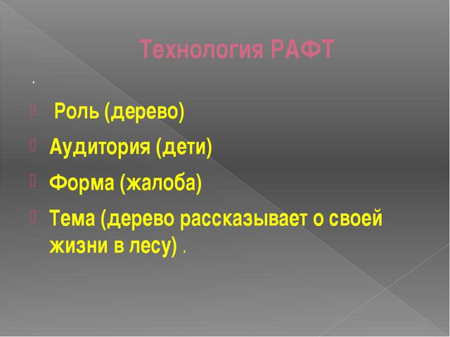 Технология РАФТ . Роль (дерево) Аудитория (дети) Форма (жалоба) Тема (дерево...