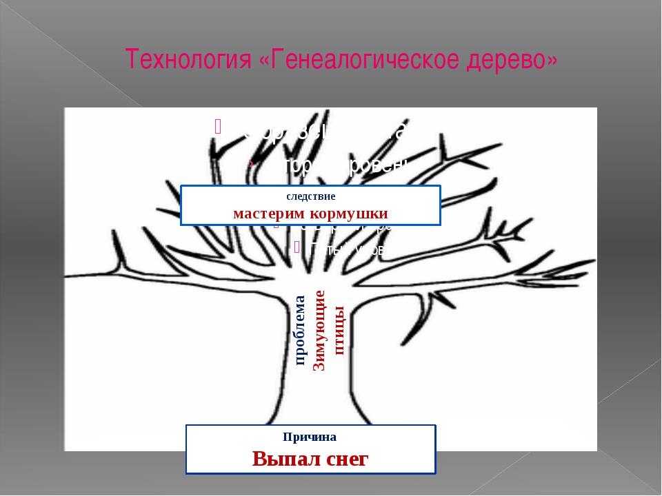 Технология «Генеалогическое дерево» проблема Зимующие птицы Причина Выпал сне...