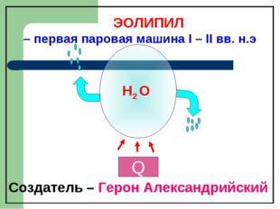H2 O ЭОЛИПИЛ – первая паровая машина I – II вв. н.э Создатель – Герон Алексан