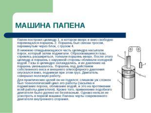 МАШИНА ПАПЕНА Папен построил цилиндр 1, в котором вверх и вниз свободно пер