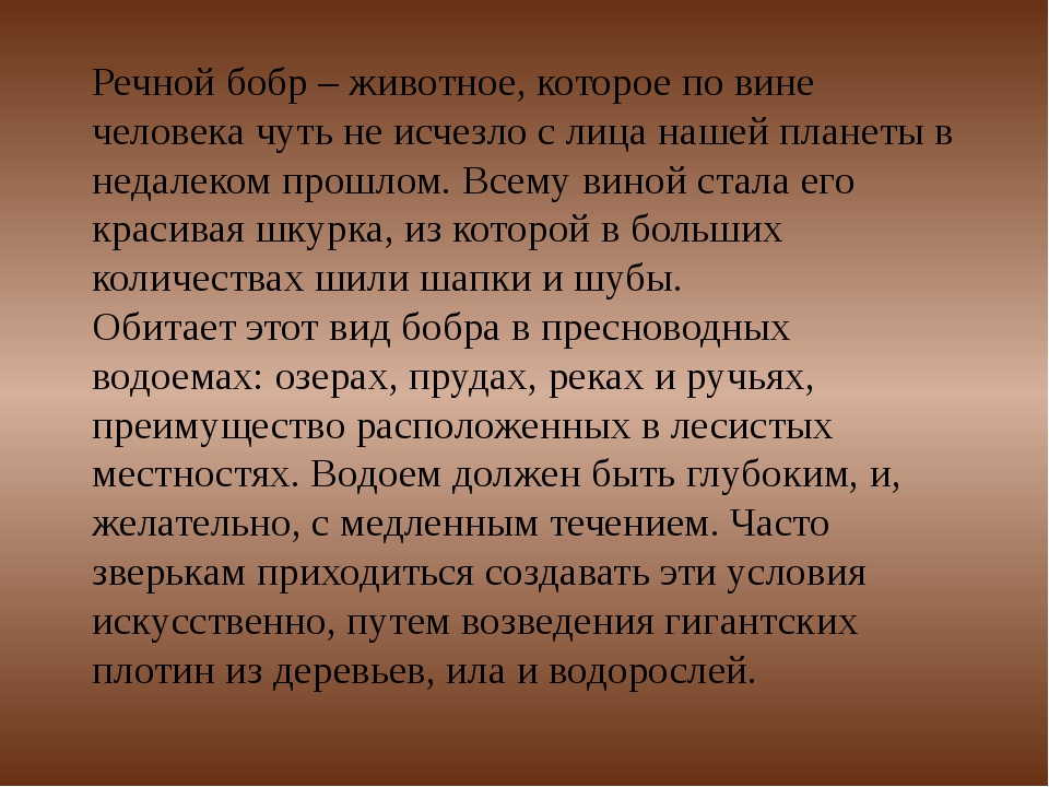 Речной бобр– животное, которое по вине человека чуть не исчезло с лица нашей...