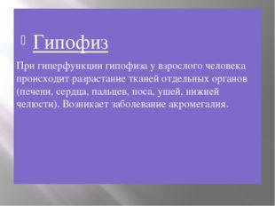 Гипофиз При гиперфункции гипофиза у взрослого человека происходит разрастани