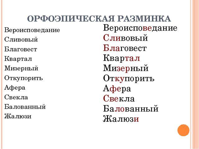 ОРФОЭПИЧЕСКАЯ РАЗМИНКА Вероисповедание Сливовый Благовест Квартал Мизерный От...