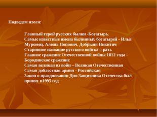 Подведем итоги: Главный герой русских былин -Богатырь. Самые известные имена