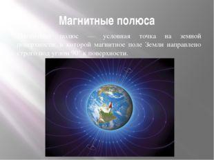 Магнитные полюса Магнитный полюс — условная точка на земной поверхности, в ко