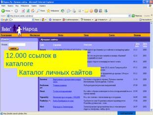 12.000 ссылок в каталоге Каталог личных сайтов каталоги