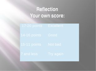 Reflection Your own score: 17-20points Excellent 14-16points Good 15-11 point