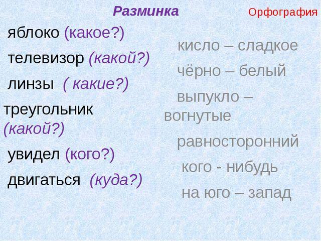 Разминка Орфография яблоко (какое?) телевизор (какой?) линзы ( какие?) треуг...