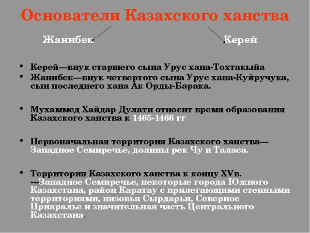 Основатели Казахского ханства Жанибек Керей Керей—внук старшего сына Урус хан...