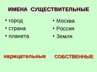 ИМЕНА СУЩЕСТВИТЕЛЬНЫЕ город страна планета Москва Россия Земля нарицательные